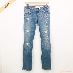 [A&F] Distressed Super Stretch Skinny Jeans